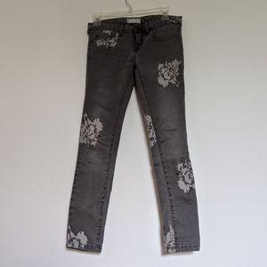 Free people gray flower jeans